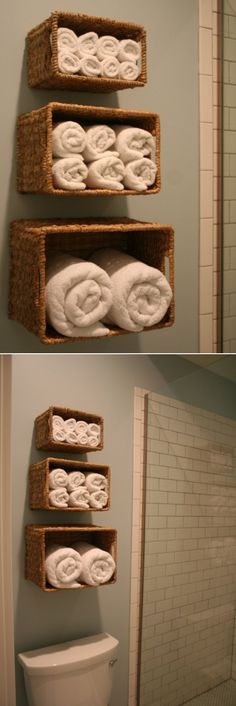 DIY Wall Storage Solution For Bath Linen. We don't want a full cabinet, but I'd still like an in-bathroom storage spot for towels and extra TP.