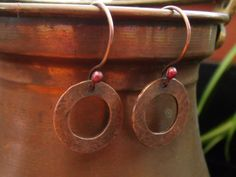 Handcrafted Hammered Copper Earrings  made by hummingbirdcreation