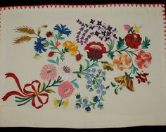 Hand made white hungarian Kalocsa floral embroidered pillow case. In a new condition. No stains, tears, only the red threads are drained a little, which you can see on the second picture. 100% batiste. Size: 46x55cm / 18x21.6   Hand wash only.  I ship worldwide.