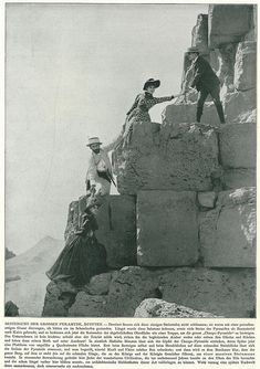Climbing the pyramid of Cheops around 1900