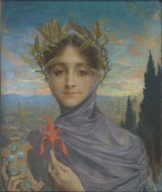 """Lucien Lévy-Dhurmer (French 1865 - 1953), """"Florence"""", Pastel on Paper, 1897. (Enlarge)"""