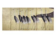 Cranes, Japanese Edo Screen Painting