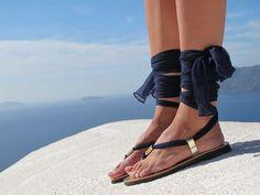 Sandales grecques, sandales luxueux avec lacets interchangeables foulard en soie, les sandales de mariée, les appartements de mariage. Entièrement personnalisable. Sophia 05. Nouveau