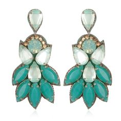Peacock Fan Drop Earrings $180
