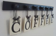 Kitchen Art Espresso Personalized Handmade Hanging Signs Set includes 6 Wooden Pegs and COFFEE Painted Black and White