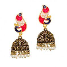 Beautiful Traditional Royal Look Blue Rani Color Oxidised Gold Tone #JhumkaEarrings @eindiawholesale