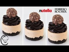 Ferrero Rocher Mini Cheesecakes with Nutella Ganache Perfect Make Ahead Dessert BEYOND Delicious! - YouTube Mini Cheesecake Recipes, Nutella Cheesecake, Cheesecake Cake, Torta Ferrero Rocher, Rocher Torte, Ferrero Rocher Cheesecake, Make Ahead Desserts, Party Desserts, Delicious Desserts