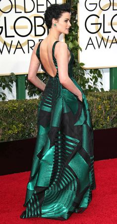 Golden Globes 2016: Better From the Back | People - Jaimie Alexander's green printed Genny dress with low back (and pockets!)