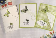 Today's Spring /Summer Catalogue Showcase is the Butterfly Gala Set – Stamp set and punch, plus Gingham Gala DSP. These will be available in the Stampin' Up! Spring / Summer catalogue, available to. Birthday Cards For Women, Handmade Birthday Cards, Handmade Cards, Fun Fold Cards, Folded Cards, Bee Cards, Cards Diy, Card Tutorials, Video Tutorials