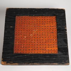 Primitive Antique Folk Art Painted 2-sided Wooden Game Board Checkerboard Aafa