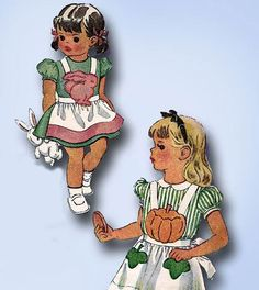 1940s Vintage McCall Sewing Pattern 1281 Toddler Girls Novelty Holiday Apron SM #McCall #ApronPattern