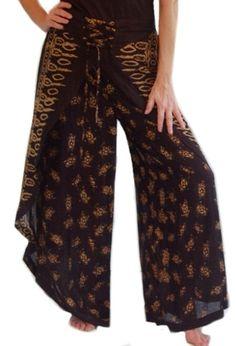 Batik Palazzo pants   Wrap Wide Leg Bali Batik Gaucho Palazzo Pants thumbnail