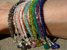 The Stackables 30 Single Strand Gemstone Bracelets to MIx and Match-gorgeous! Strand Bracelet, Gemstone Bracelets, Gemstone Jewelry, Bangle Bracelets, Beaded Jewelry, Handmade Jewelry, Stacking Bracelets, Gothic Jewelry, Boho Jewelry