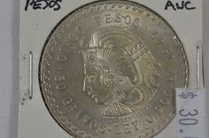1947 Mexico 5 Cinco Pesos .900 Silver Coin AUC Almost Uncirculated Cuauhtemoc