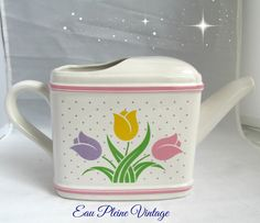 Tulips Flower Pot Watering Can Home Decor by EauPleineVintage