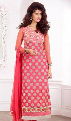 Become your own fashion stylist donning this dusty pink shade georgette embroidered churidar suit. The attractive lace and resham work a significant element of this attire. #PinkReshamWorkLongDress
