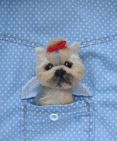 Felted yorkie dog felt animal brooch-yorkshire terrier-yorkie pin-pet lover gift-yorkie love-cute yorkies-custom pet portraits-dog portraits by FeltedClouds on Etsy