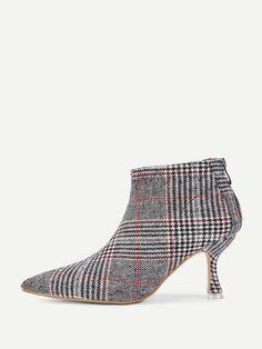 9f6040bf891 Shein Kitten Heeled Plaid Ankle Boots Kitten Heel Boots