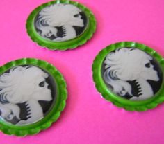Skull Cameo Magnets by Little Bits of Lavender on www.goodsmiths.com #halloween #skulls #cameo