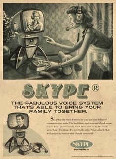 Skype marketed in a jumbled timeline. Classic retro. http://www.SlideBelts.com