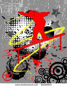Snow skater glides on a rail Snow, Stock Photos, Illustration, Image, Design, Illustrations, Eyes, Character Illustration