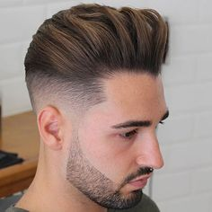High Fade with Long Thick Brush Up