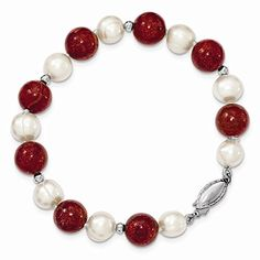 Best Birthday Gift Sterling Silver FW Cultured Pearl & Stabilized Red Coral Bracelet *** READ REVIEW @ http://www.finejewelry4u.com/store/best-birthday-gift-sterling-silver-fw-cultured-pearl-stabilized-red-coral-bracelet/?c=8112