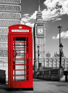 this phone box is from london Black White Photos, Black And White Colour, White Photography, Landscape Photography, Color Splash, Color Pop, London Phone Booth, Paris Wall Decor, London Dreams