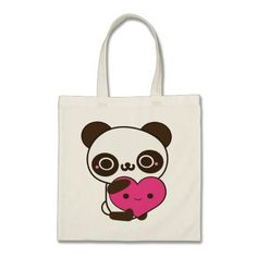 An adorably cute panda heart tote bag! Useful for shopping, school books, groceries etc. but could also make a great Valentine's Day gift! Great Valentines Day Gifts, Kawaii, Cute Panda, Design Your Own, Gift Bags, Cotton Canvas, Reusable Tote Bags, Love, School