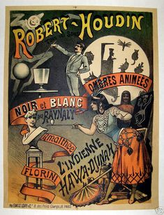 """A very rare poster from the Theater of Robert Houdin, The Father of Modern Magic. Measures 20"""" x 30"""""""