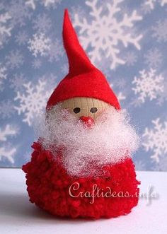 For a cute and cuddly Christmas decoration, make a Pom Pom Santa Decoration. This craft teaches you how to make your own pom pom, which you can then turn into a fuzzy little craft Santa that everyone will love. An easy DIY Christmas craft like this i Santa Crafts, Christmas Projects, Christmas Crafts, Rainy Day Crafts, Holiday Crafts For Kids, Christmas Cake Decorations, Holiday Ornaments, Pom Pom Crafts, Noel Christmas