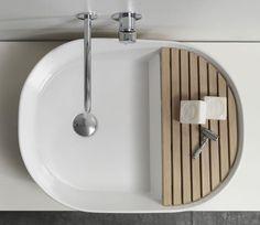 STEP Lavabo à poser en céramique design , design by NOTE Design Studio Bathroom Furniture, Bathroom Interior, Modern Bathroom, Modern Sink, Lavabo Design, Sink Design, Wood Design, Design Design, Note Design Studio