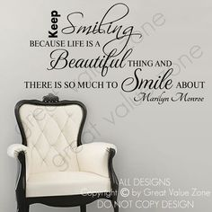 Marilyn Monroe Keep Smiling Life Inspiration Wall Quote Vinyl Art Decal Sticker Home Decor