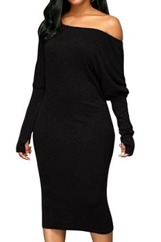 online shopping for Meenew Women's Batwing Long Sleeve Oblique Bodycon One Shoulder Midi Dress from top store. See new offer for Meenew Women's Batwing Long Sleeve Oblique Bodycon One Shoulder Midi Dress Plain Dress, Midi Dress With Sleeves, Midi Dresses Online, Dress Online, Prom Dresses, Women's Fashion Dresses, Woman Dresses, Pencil Dress, Womens Fashion