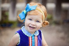 Runaway Pony Clementine Felt Bow Headband in Blue with Green-White Stripes