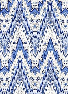 Chevron Fabric by the Yard - Modern Blue White Chevron Upholstery - Linen Chevron Drapery Fabric