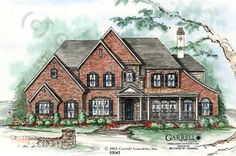 Garrell Associates, Inc. Brownfield House Plan # 02042, Front Elevation, Estate Size House Plans, Traditional Style House Plans (4,192 s.f.) Design by Michael W. Garrell