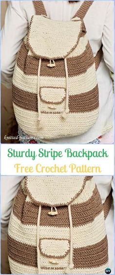 Crochet Sturdy Stripe Backpack Free Pattern -Crochet Backpack Free Patterns Adult Version #CrochetBagsandPurses