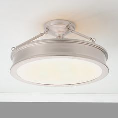 "Traditional Urban Semi Flush Ceiling Light brushed_nickel 9.75h x 19w x 19d Backplate/Canopy Size: 2.38""Hx6.25""W Round Max Bulb Wattage: 100 Number of Lights: 3 $270"