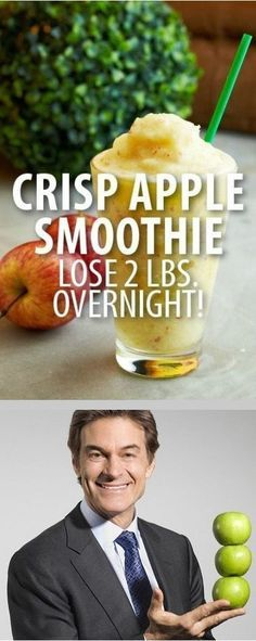 The Crispy Apple Smoothie is a perfect dinner option on the diet plan to help you lose two pounds in one day, as approved by Dr Oz.