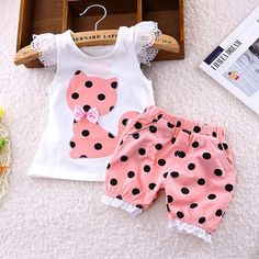 FREE SHIPPING Summer Poke a Dot Short & Blouse Set Sizes 18 M-4T Girls
