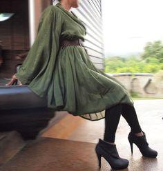 Lotus...Autumn dress dark green mix silk (one size fits most). $57.00, via Etsy.