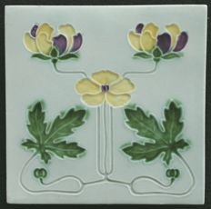 Georg Schmider - Art Nouveau tile with purple and yellow flowers