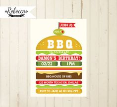 bbq invitation, bbq birthday, barbeque invitation, bbq birthday invite, bbq invite, 21st birthday, 30th birthday, 40th birthday, bbq party  RebeccaDesigns22 on Etsy, $14.99
