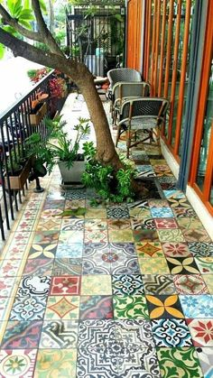 24 Classic Painted Floor Tiles Get An Artistic Floor - Mosaic flooring, Paintin. - 24 Classic Painted Floor Tiles Get An Artistic Floor – Mosaic flooring, Painting tile floors, Ti - Outdoor Spaces, Outdoor Living, Outdoor Decor, Outdoor Balcony, Tiny Balcony, Balcony Tiles, Patio Tiles, Small Terrace, Concrete Tiles