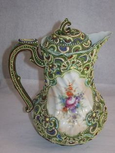 Antique Green Oriental Japan Moriage Chocolate Pot/Lid Porcelain, Jeweled Design in Antiques, Asian Antiques, Japan, Other Japanese Antiques   eBay