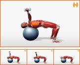 Ball Dumbbell Supine Fly Unilateral The dumbbell supine fly performed on the ball is an advanced exercise requiring a strong core. By weighting the body on one side it forces you to work harder to stabilize the movement. The surface of the ball provides for more range of motion and therefore recruits more muscle to perform the action. If one side of you chest is stronger than the other this exercise can help even out development. Exercise Videos, Exercise Ball, Workout Videos, Ball Workouts, Work Harder, Strength Workout, Bodybuilding Workouts, Cardio, Exercises