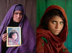 The young Afghan refugee who stared from the cover of National Geographic in June 1985 was an enigma for 17 years. What was her name? Had she survived? Photographer Steve McCurry joined a crew from National Geographic Television & Film to methodically search for her. Finally, after some false leads, a man who had also lived in the camp as a child recognized her. Yes, she was alive. Her name, Sharbat Gula. (click on pic for the complete story)