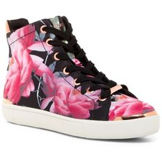 Ted Baker London Vleil Citrus Bloom High Top Sneaker ($90) ❤ liked on Polyvore featuring shoes, sneakers, citrus bloom, hi tops, high top trainers, floral sneakers, platform shoes and floral shoes