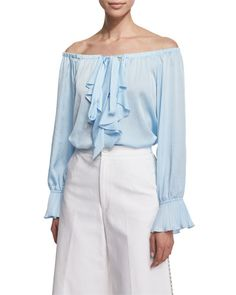 TBX4N Nanette Lepore Off-the-Shoulder Ruffle-Front Top